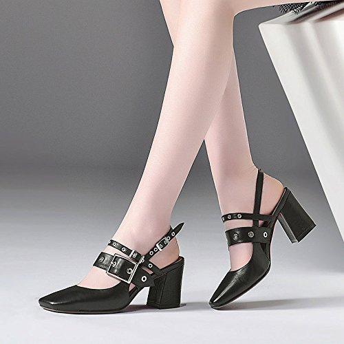 Cuir Dos Talons Sandales Fashion Femmes Cloutés Air Robes pour Carré Black à à Bout en Talons Chaussures Joker F7FSv