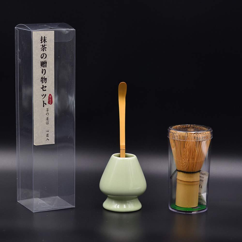Bamboo Matcha Tea Whisk Set (Chasen) Bamboo Scoop (Chashaku) Ceramic Whisk Holder Ceremonial Starter Matcha Kit for Traditional Japanese Tea Ceremony (plum green) by LTLR (Image #6)