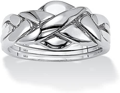 Platinum over .925 Sterling Silver Interlocking Puzzle Ring
