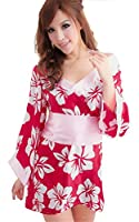 Women's Sexy Lingerie Kimono Printed Satin Nightgowns Bathrobe+ Belt+t-back Rose