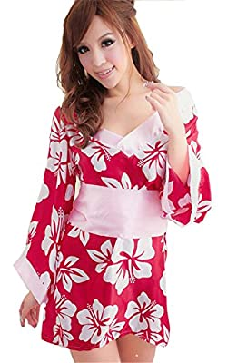 Women's Sexy Lingerie Kimono Printed Satin Nightgowns Bathrobe+ Belt+t-back Rose
