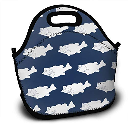Largemouth Kit (Midsummer Sky Neoprene Lunch Bags Largemouth Midnight Insulated Lunch Tote Lunchbox Thermal Carrying with Zipper for Men Women Kids)
