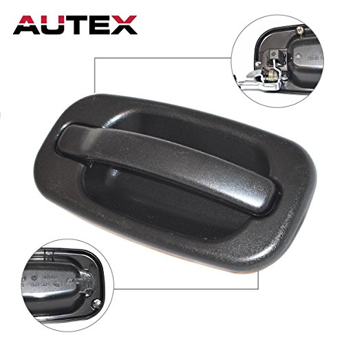 AUTEX Black Exterior Outside Rear Right Passenger Side Door Handle for 2004 Chevy Silverado 2500, 2001-2006 Chevrolet Silverado 2500HD, 2007 Chevrolet Silverado 2500HD Classic(Crew Cab Pickup only)