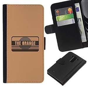 LG G3 - Dibujo PU billetera de cuero Funda Case Caso de la piel de la bolsa protectora Para (The Orange)
