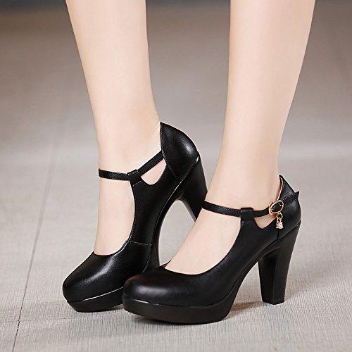 Middle Women'S Shoe Waterproof High 9Cm Black Shoes Model Stage Single Heel Platform T Heel Thick Walk Show GTVERNH Heel Rpq6BwB