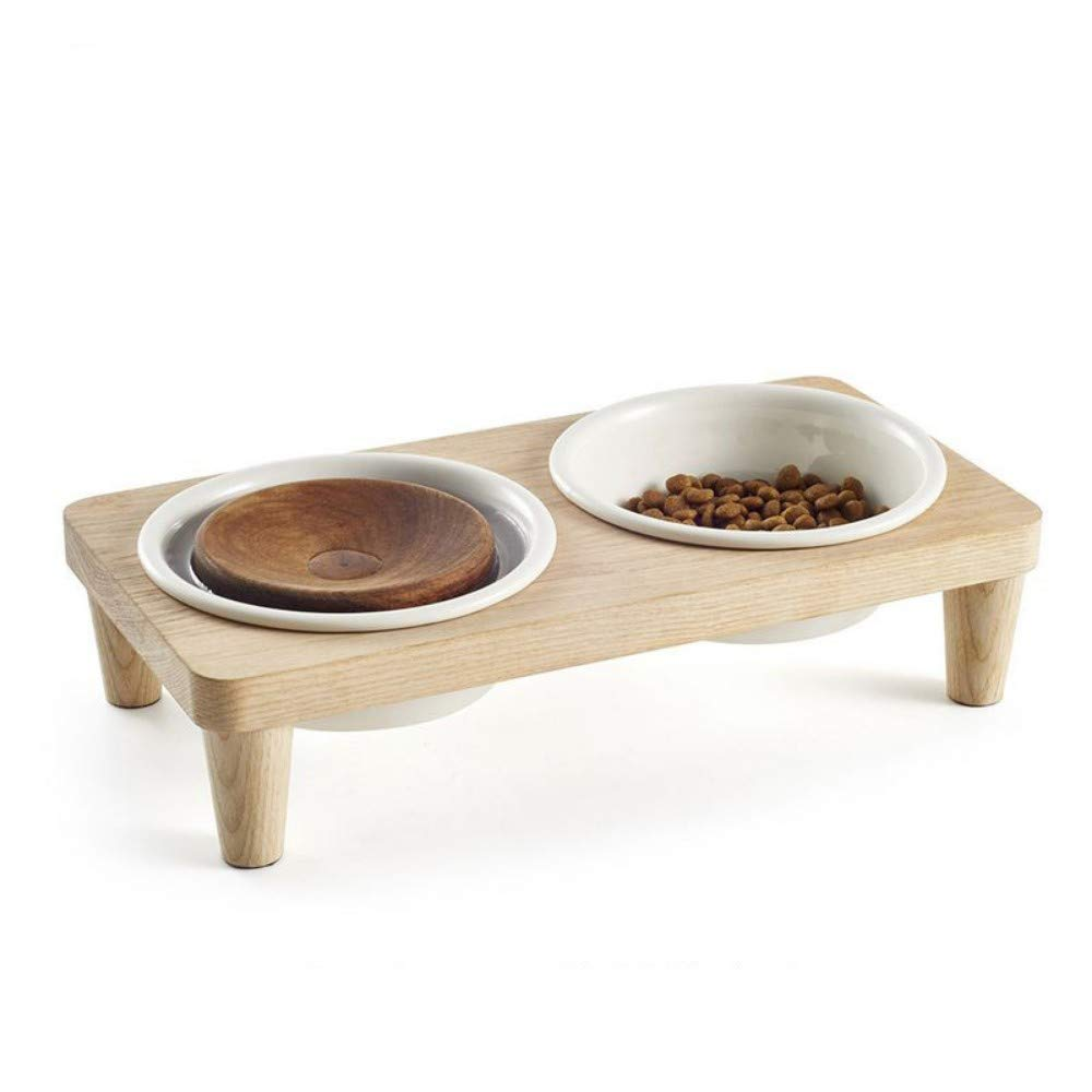 A Pet Bowl, Cat and Dog Bowl, Tableware, Solid Wood Medium Size Ceramic Double Bowl Drinking Water Feeding,A