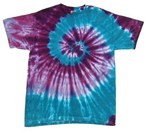 Rockin' Cactus Men's Tie Dye T-Shirt-Purple & Teal Spiral-L