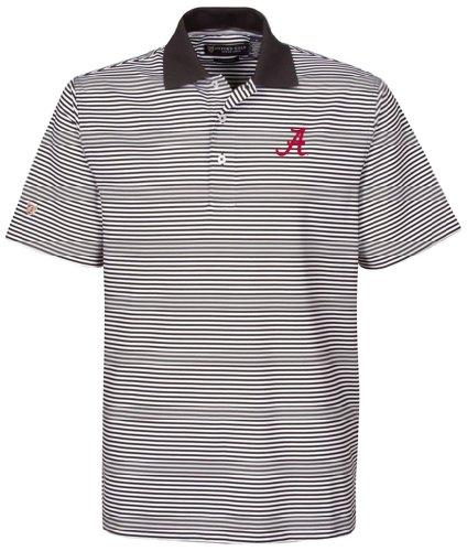 NCAA Alabama Crimson Tide Men's Ashford Stretch Coolmax Stripe Polo Shirt, Black/White, - Ashford Store