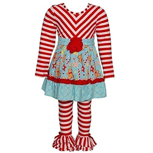 Counting Daisies Little Girls Red Stripe Candy Print 2 Pc Pant Outfit 4T