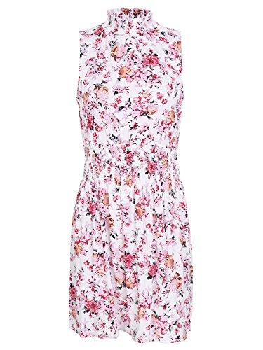 Simplee Robe À Fleurs Manches Femmes De Vêtements De Haute Taille Mini Robe Rose Partie