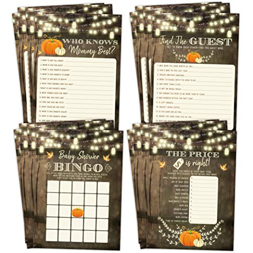 Halloween Pumpkin Decoration Games (Fall Pumpkin Baby Shower Games, Neutral Yellow Bingo, Find The Guest, The Price Is Right, Who Knows Mommy Best, 25 games)