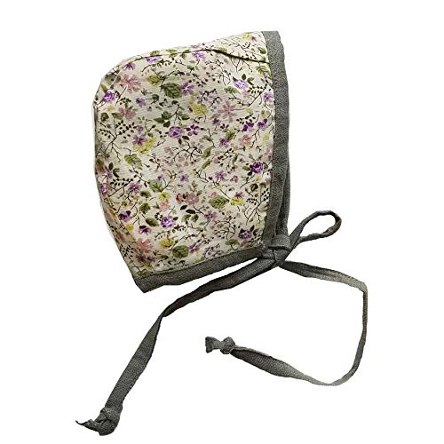 Baby Bonnet Country Hat Reversible Dual Side Linen, Cotton Floral Combinations Evy Collection Bonnets (Olive & Lavender, 18-24) ()