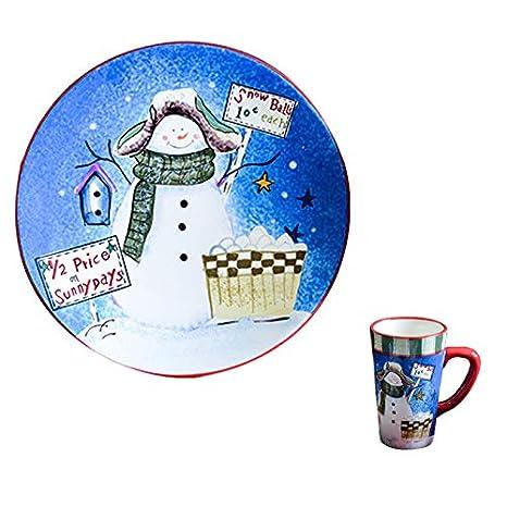 Amazon.com: Plato de cerámica de Navidad creativa dibujos ...
