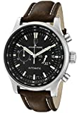 JACQUES LEMANS Men's Automatic Chronograph Black Dial Brown Leather