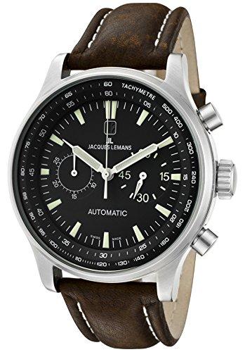 JACQUES LEMANS Men's Automatic Chronograph Black Dial Brown Leather
