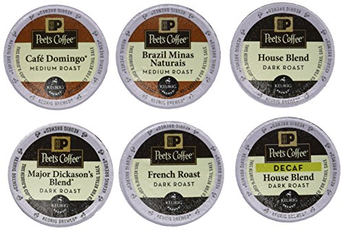 30 K-cup Peets Coffee Sampler Variety PackWITH DECAF (Brazil Minas Naturais, Cafe Domingo, House Blend, Major Dickasons, French Roast & House Decaf)