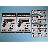 2 Warning Property Protected By The 2nd Amendment Gun Security Yard Signs & 12 Window Stickers - Stock # 723