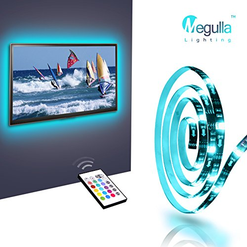 Bias Lighting for TV, Megulla Accent Light Strips -Medium (79inch) , USB-Powered RGB LED Strip with Wireless Remote, 16 Colors, Dimmer -for HDTV, Home Theater and Desktop Monitors -Black, (Go Hdtv Cable Kit)