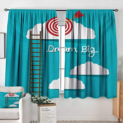 Mozenou Inspirational Room Darkening Curtains Dream Big Phrase with Dart Board Fluffy Clouds Staircase Optimistic Attitude Door Curtain Blackout 72