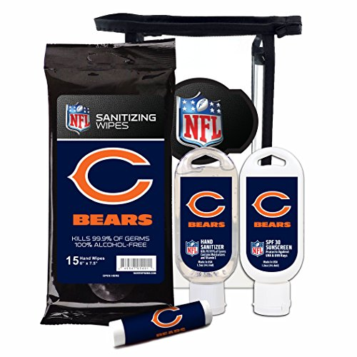 (Worthy Promotional NFL Chicago Bears 4-Piece Premium Gift Set with SPF 15 Lip Balm, Sanitizer, Wipes, Sunscreen)