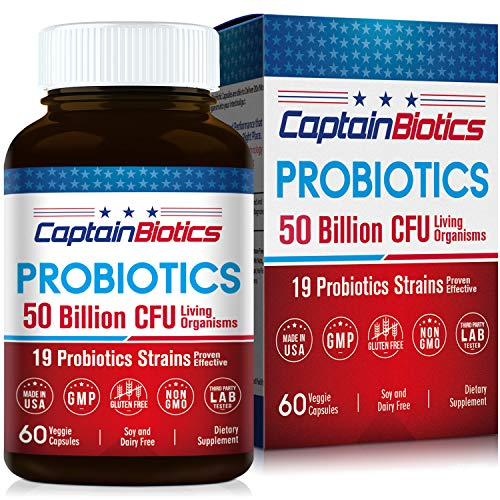 CaptainBiotics Probiotics -50 Billion CFU per 2 Caps - 60 Vegetarian Caps - 19 Science-Backed Strains, Shelf Stable, Controlled Release, Stomach Acid Resistant, Superior Adherent