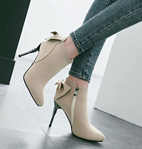KUKI autumn and winter women's boots high heels bow shoes cheap women boots large women's boots light breathable casual shoes beige 55qH6Hlz6