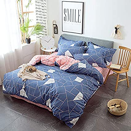 Amazon Com Jx Lecal Home Bedding Set Geometric Plaid Pattern Bed