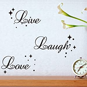 Fancy Writing Live Laugh Love Quote Wall Art Vinyl Sticker Decal  Fashionable Decoration (Black,Small Size) Part 91