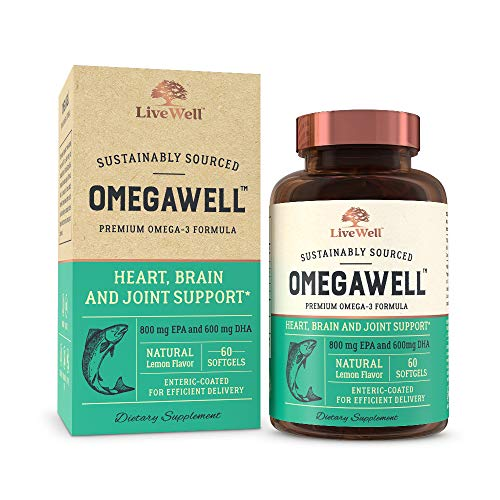OmegaWell Fish Oil: Heart, Brain, and Joint Support | 800 mg EPA 600 mg DHA - Natural Lemon Flavor, Enteric-Coated, Sustainably Sourced - Easy to Swallow 30 Day Supply (Omega Heart Slide)
