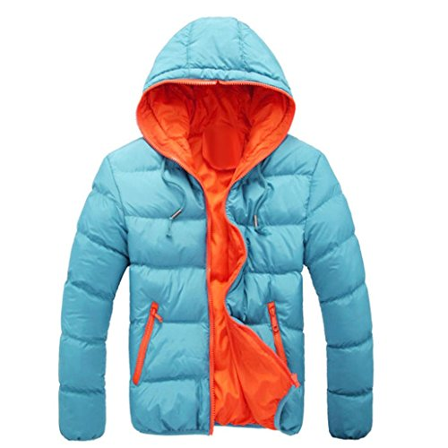 Hot Sale! Ankola Men's Winter Casual Slim Quilted Puffer Jacket Hooded Parka Coat with Fixed Hood (Blue, XXL)