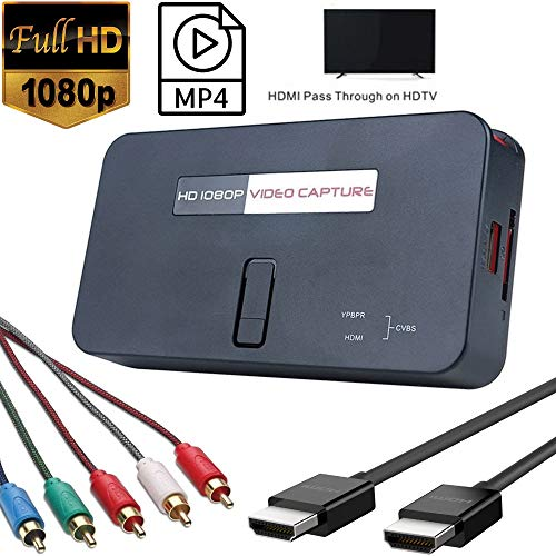 YOTOCAP 1080P HD HDMI Video Capture Box Card, Game Recorder for Playstation, Xbox, Wii U Gameplay, Blu-ray etc. Save into USB or SD Card Support Streaming Video,Snapshot,Real-time Record w/HDMI Cable