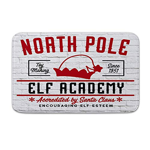 Asamour Christmas Bath Mat North Pole Elf Academy Lettering on The White Brick Wall Flannel Absorbent Bath Rugs Doormat Anti-Slip Backing Kitchen Mat, Size 17.5''x29.5'',Black Red ()