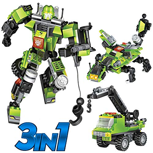 Robot STEM Toy Creative Set| 3 in 1 Transforming Action Rescue Figures Bots Construction Building Toys for Boys Ages 6-12 Years Old | Best Toy Gift Idea for Kids (Green)
