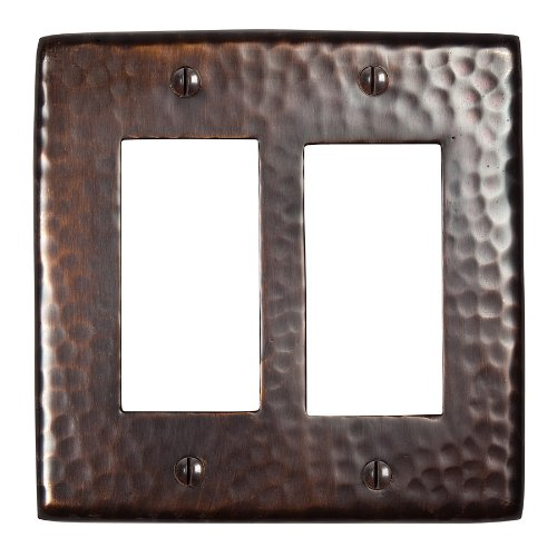 The Copper Factory CF124AN Solid Hammered Copper Double GFCI Plate, Antique Copper Finish by The Copper Factory