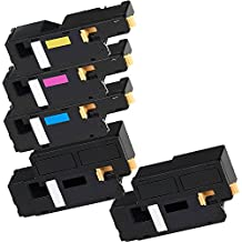 5 Inkfirst® Toner Cartridges 6010 BK C M Y Compatible Remanufactured for Xerox 6010 Black, Cyan, Magenta, Yellow (1 Set + 1 Black) Phaser 6000 6010 WorkCentre 6015