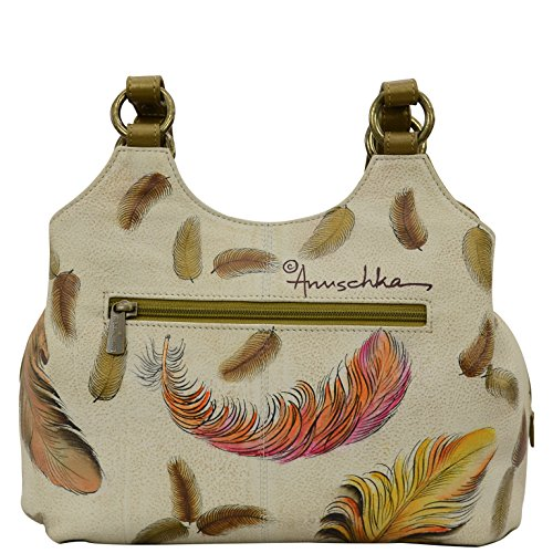 Triple Satchel Feathers Floating Womens Medium Anuschka Handbag Ivory Compartment Leather Hand Painted 0gnIBq