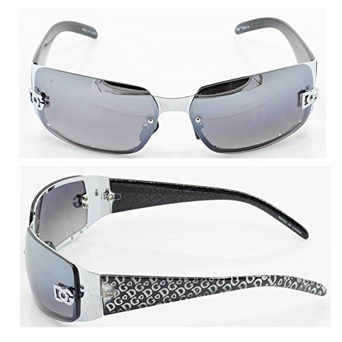 DG Women Fashion Designer Sunglasses Shades Rectangular Wrap Silver Black - Cord Sunglasses With And Blinds