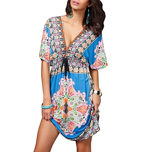 Pinkyee Deep V Bohemia Beach Dress Cover up