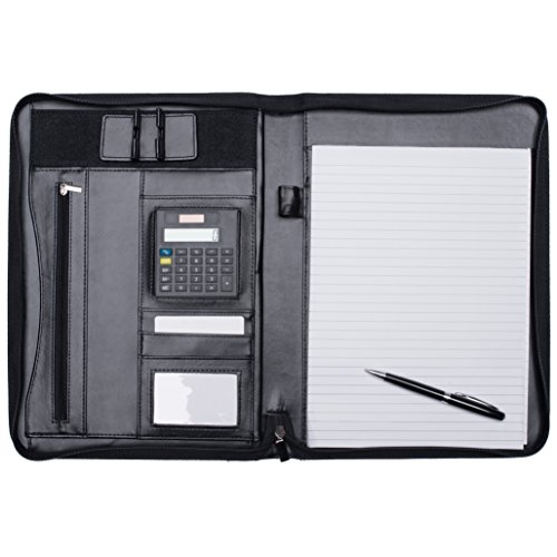 Padfolio Leather Portfolio - Zippered Business Notebook Binder & Office Organizer Folder - Ipad Stand & 10.5 Inch MacBook Sleeve [Bonus] Calculator, Notepad With Paper & BallPoint Pen