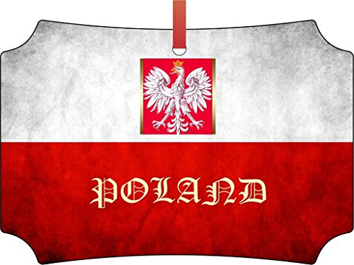 (Polish Flag-Poland-TM Double-Sided Berlin Aluminum Holiday Hanging Tree Ornament. Made in the)