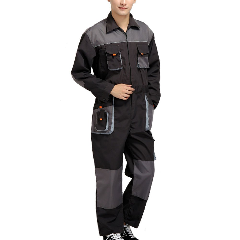 Aolamegs Men's and Women's Long Sleeve Coveralls for Worker Repairman Machine Auto Repair Electric Welding Work Clothing US L