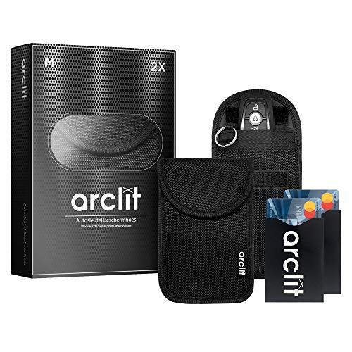 Arclit® | 2x Autosleutel RFID Anti-Diefstal Beschermhoes + 2x RFID kaarthouders | 2Pack | Keyless Entry Beveiliging…