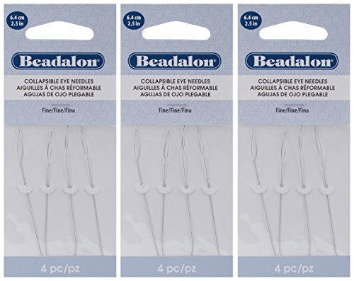 3-PACK - Beadalon Collapsible Eye Needles 2.5-Inch Fine 4 per Pack (in Rigid Pak TM mailer)