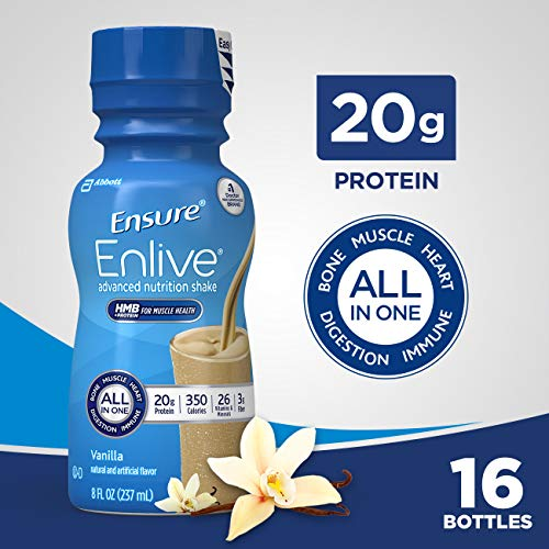(Ensure Enlive Advanced Nutrition Shake with 20 grams of High-Quality protein, Meal Replacement Shakes, Vanilla, 8 fl oz, 16)