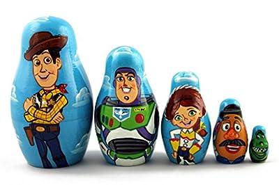 Matryoshka Matrioska Babuska Russian Nesting Wooden Doll Toy Story Matryoshika Babushka 5 Pcs Stacking Hand Painting Beautiful Nested Craft Matriosjka Matrioska Matreshka Matrjoska Matroeska