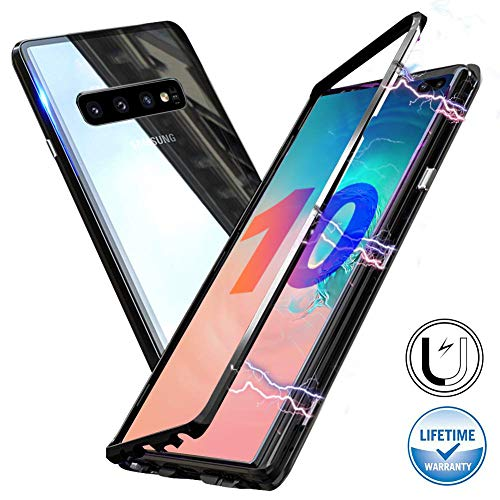 (Magnetic Adsorption Case Fits for Samsung Galaxy S10e,Clear Tempered Glass Hard Back Cover [Built-in Magnets Metal Bumper Frame],360° Protection Ultra Slim Case for Samsung S10e 5.8