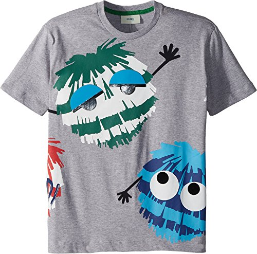 Fendi Kids Boy's Short Sleeve Logo Fur Monster Graphic T-Shirt (Little Kids) Grey 6 - Fendi Clothes Kids