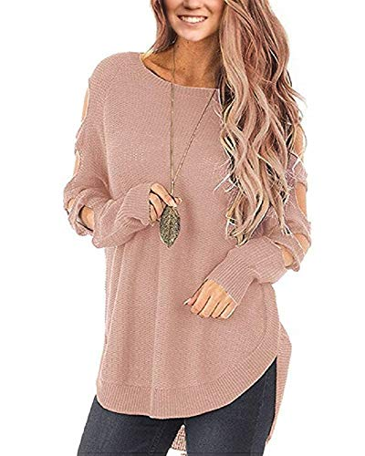 e977c317083 Huiyuzhi Womens Cold Shoulder Pullover Sweaters Ladder Cutout Long Sleeve  Knit Jumper Tops