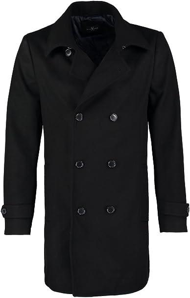 Pier One Wollmantel Herren in Schwarz, Grau o. Blau Wollmantel kurz & elegant im Caban Stil Zweireiher Mantel für Männer aus Wolle für den Winter