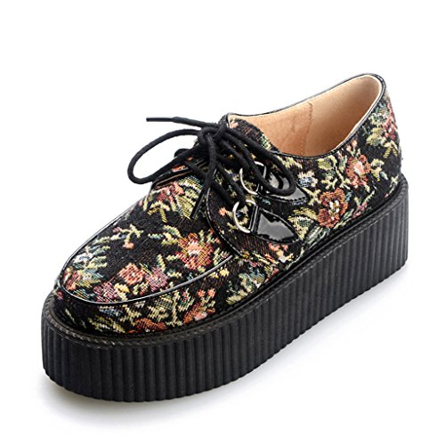 RoseG Womens Handmade Suede Flower Pattern Lace Up Flat Platform Creepers Shoes